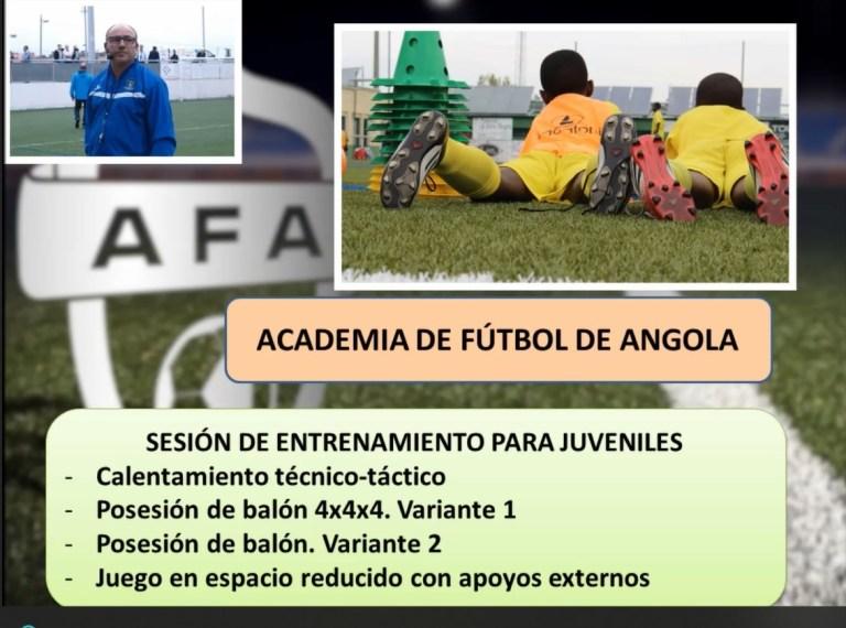 Sesión de entrenamiento para juveniles de la Escuela de Fútbol Base AFA Angola